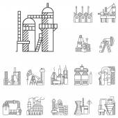 Plants and factories line vector icons
