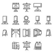 City advertisement flat line vector icons