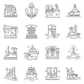 Ships and ports line vector icons