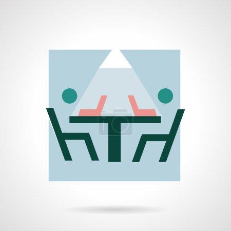 Illustration pour Icône vectorielle de style plat couleur pour le co-working. Travail d'équipe processus créatif. Deux personnes à table avec des ordinateurs portables. Éléments de conception pour les entreprises et site Web - image libre de droit