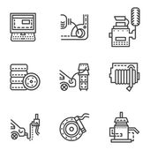 Car service simple line vector icons