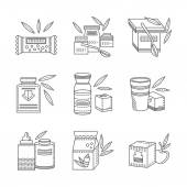 Line vector icons for healthy nutrition