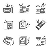 Simple line vector icons for baby food