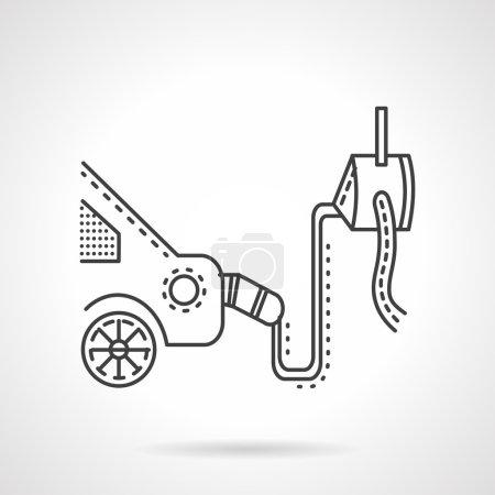 Car emission control device line vector icon