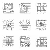 Different samples for coast cafe bar and bungalows Set of thin flat line style tourism service vector icons Design symbols for website and business