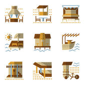 Colorful flat simple style vector icons and signs for bungalows and coast bars or cafe Travel services Design elements for website and business