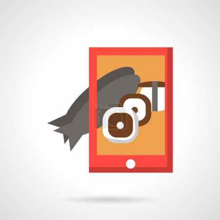 Seafood photo with phone flat vector icon