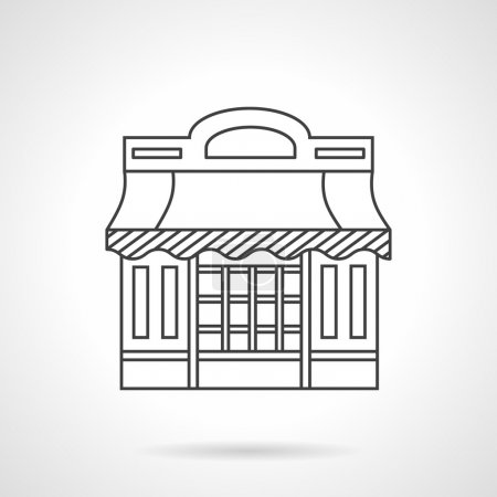 Cafeteria. Storefronts flat line vector icon.