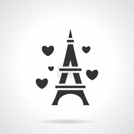 Black Eiffel Tower romance vector icon