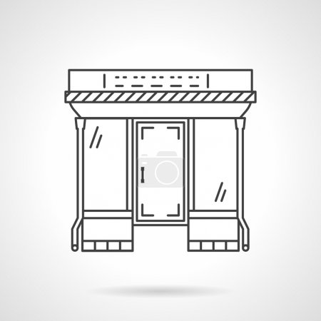 Flat line mall facade vector icon