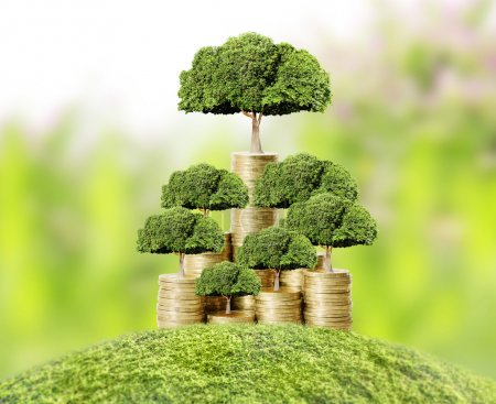 Photo for Concept of money tree growing from money - Royalty Free Image