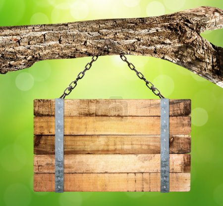Photo for Close up of an empty wooden sign hanging - Royalty Free Image