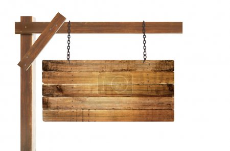 Empty wooden sign hanging
