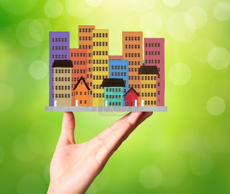 Photo pour Holding représentant la propriété et l'activité Immobilier - image libre de droit