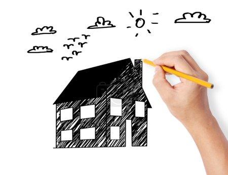 Photo pour Dessin à la main un modèle de maison - image libre de droit