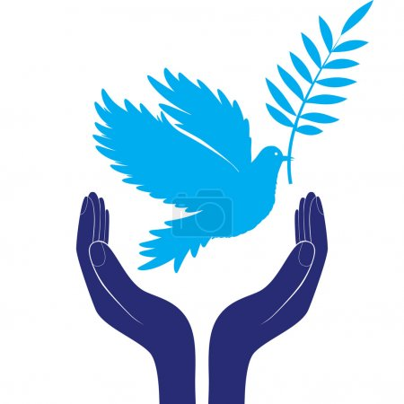 Hands and dove of peace vector illustration...