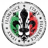 Travel destination grunge rubber stamp with symbol of Florence Italy insidethe fleur de lis of Florence