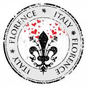 Love heart to The fleur de lis of Florence travel destination grunge rubber stamp with symbol of Florence Italy inside vector illustration
