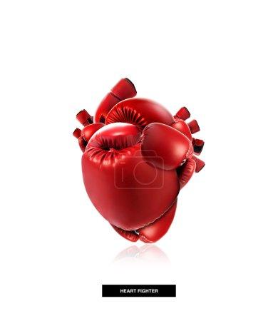 Photo pour Concept médical de protection cardiaque, Forme de coeur en gant de boxe, lutte pour la vie, isolé sur blanc avec chemin de coupe - image libre de droit