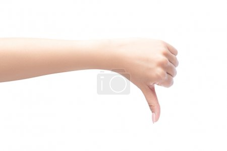 Woman hand showing thumbs down