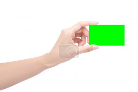 Hand hold business card in green