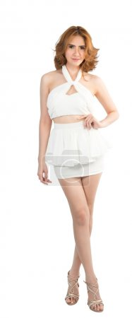 Young asian lady in white dress posing on white background design with clipping path