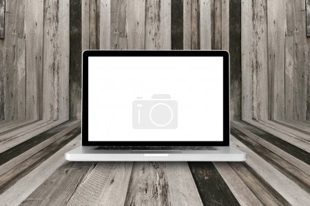 laptop computer on wood table with clipping path on Screen