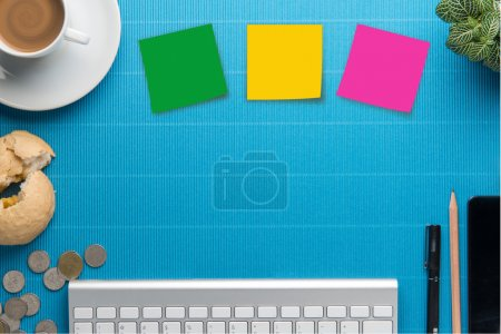 Photo for Office desk,Office supplies and coffee cup - Royalty Free Image