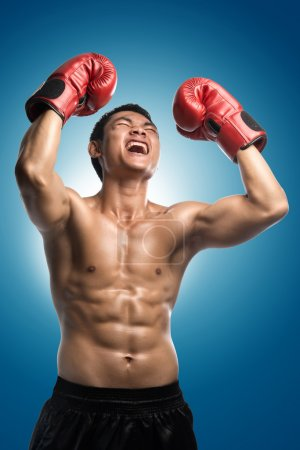 Victory,boxer champion enjoying his victory