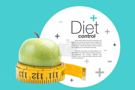 healthy diet concept , apple and a measuring tape, clipping path