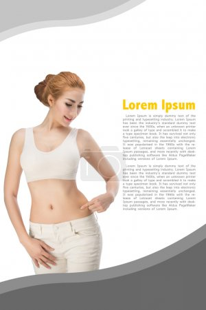 Young slim woman with little fat on her belly on background design with clipping path