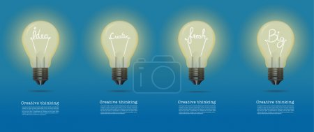 Vector realistic glowing light bulb.set of creative bulb.cretive