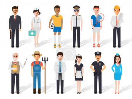 Photo pour Ensemble de professionnels diversifiés. Design plat personnages personnes . - image libre de droit