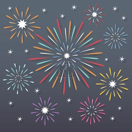 Illustration pour Papier coloré explosant feux d'artifice sur fond sombre nuit . - image libre de droit