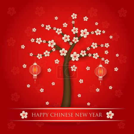 Illustration for Chinese new year with cherry blossom tree on red background - Royalty Free Image