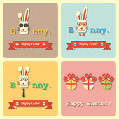 Four Easter rabbits and eggs banners