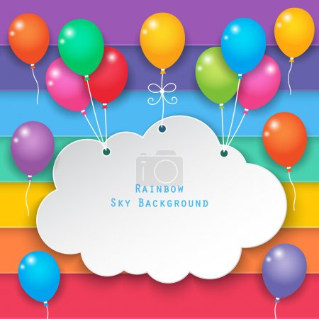 Illustration for Paper clouds hanging with balloons on rainbow sky background. - Royalty Free Image