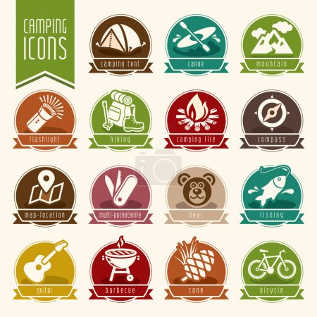 Illustration for Quality set of icons that can be used on the camp. - Royalty Free Image