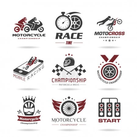 Motorcycle racing icon set - 3