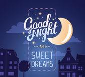 """Постер, картина, фотообои """"Иллюстрация пожелание спокойной ночи и сладких снов"""""""