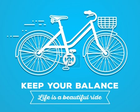Illustration for Vector illustration of white color moving fast bicycle with basket and text keep your balance, life is a beautiful ride on blue background. Bike adventure concept. Thin line art flat design of female bicycle, riding on the bicycle and cycling theme - Royalty Free Image