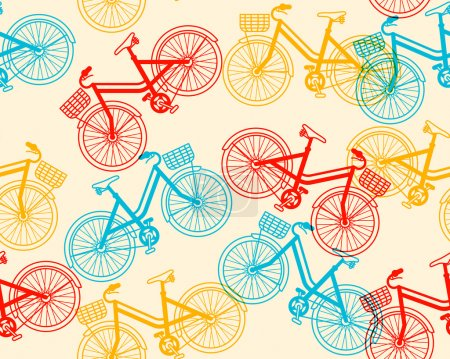 Seamless pattern of retro bicycles