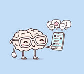 Vector illustration of retro pastel color smile pink brain with glasses holding phone on blue background Creative cartoon brain concept Doodle style Thin line art flat design of character brain for mobile communication theme