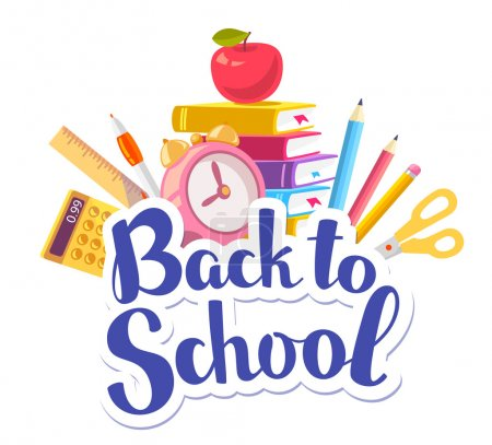 Vector colorful illustration of inscription back to school with