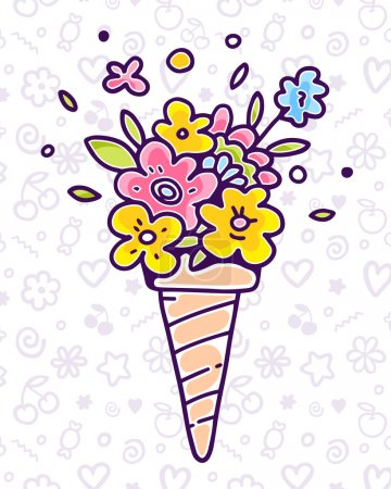 Vector colorful illustration of flower composition in waffle con