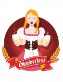 Vector colorful illustration of german girl waitress in traditio