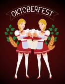 Vector colorful illustration of two german girls waitress in tra