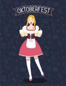 Vector colorful illustration of german full length girl waitress