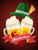 Vector colorful illustration of two big mugs of yellow beer with