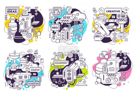 Illustration for Vector set of illustration of three dimensional black and white mechanism to develop product on white with color background. 3d line art style design for business web, site, banner, poster, print - Royalty Free Image